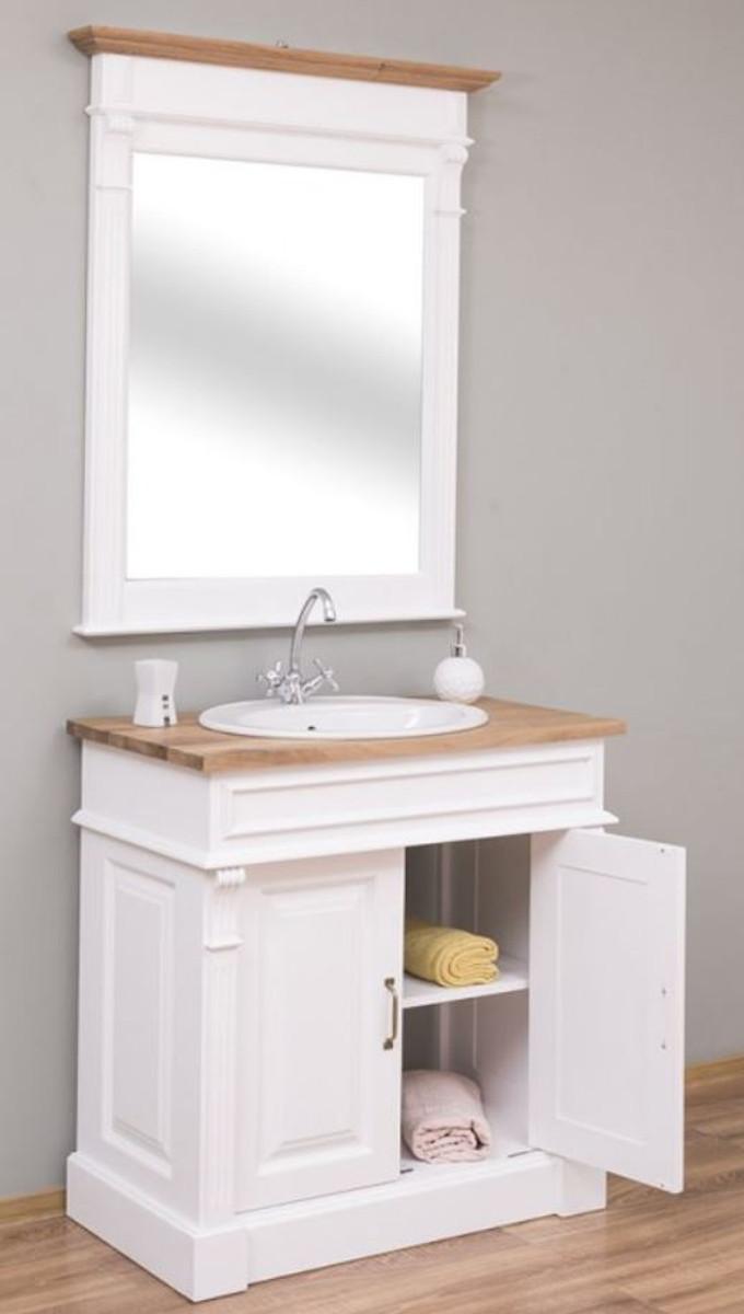 Casa Padrino Landhausstil Badezimmer Set Weiß / Naturfarben - 122 Waschtisch  & 122 Wandspiegel - Massivholz Badezimmer Möbel im Landhausstil