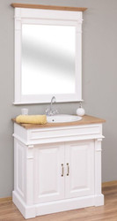 Casa Padrino Country Style Bathroom Set White / Natural - 1 Washstand & 1 Wall Mirror - Solid Wood Bathroom Furniture in Country Style