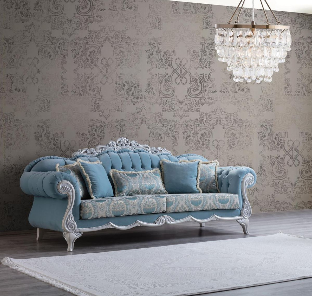 Casa Padrino Luxury Baroque Living Room Sofa With Decorative Pillows Light Blue Gray 237 X 90 X H 105 Cm Baroque Furniture Noble Magnificent