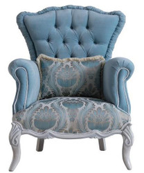 Casa Padrino luxury baroque living room armchair with decorative pillow light blue / gray 85 x 87 x H. 108 cm - Baroque Furniture - Noble & Magnificent