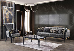 Casa Padrino luxury baroque living room set gray / black / gold - 2 Sofas & 2 Armchairs & 1 Coffee Table with Glass Top in Marble Look - Living room furniture in baroque style - Noble & Magnificent