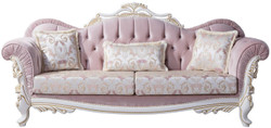 Casa Padrino luxury baroque sofa with decorative pillows pink / silver / white / gold 243 x 90 x H. 110 cm - Baroque style living room furniture