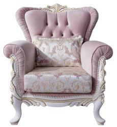 Casa Padrino Luxus Barock Sessel mit dekorativem Kissen Rosa / Silber / Weiß / Gold 96 x 92 x H. 106 cm - Barockstil Wohnzimmer Möbel