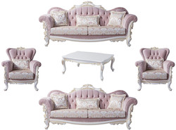 Casa Padrino luxury baroque living room set pink / silver / white / gold - 2 Sofas & 2 Armchairs & 1 Coffee Table - Noble living room furniture in baroque style