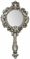 Casa Padrino baroque hand mirror antique silver 13 x H. 28 cm - Antique style make-up mirror - Baroque decoration accessories