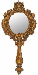 Casa Padrino Barock Handspiegel Antik Gold 13 x H. 28 cm - Antik Stil Schminkspiegel - Barock Deko Accessoires