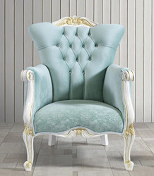 Casa Padrino baroque armchair with rhinestones light green / white / gold 80 x 88 x H. 110 cm - Noble baroque style living room furniture