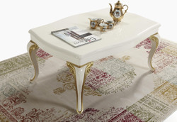 Casa Padrino baroque coffee table cream / gold 105 x 74 x H. 50 cm - Rectangular living room table in baroque style - Baroque Furniture