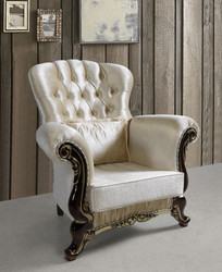 Casa Padrino baroque armchair with rhinestones champagne / black / gold 112 x 85 x H. 112 cm - Noble living room furniture in baroque style
