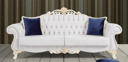 Casa Padrino baroque sofa light gray / white / gold 235 x 85 x H. 112 cm - Noble living room sofa with rhinestones - Baroque Furniture