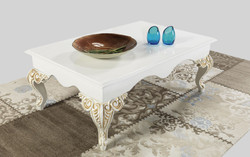 Casa Padrino baroque coffee table white / cream / gold 105 x 75 x H. 42 cm - Baroque style living room table - Baroque living room furniture