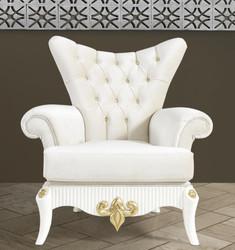 Casa Padrino Barock Sessel Creme / Weiß / Gold 112 x 85 x H. 112 cm - Wohnzimmer Sessel mit Glitzersteinen - Edle Barock Möbel
