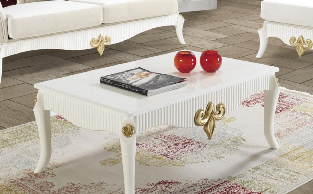Casa Padrino Luxus Barock Couchtisch Weiß / Gold 105 x 74 x H. 50 cm - Barockstil Wohnzimmertisch - Barock Wohnzimmer Möbel