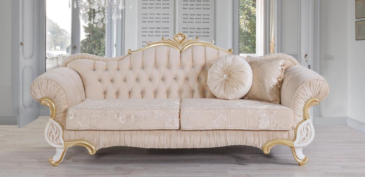 Casa Padrino Luxus Barock Sofa Beige / Weiß / Gold 228 x 105 x H. 85 cm - Edles Wohnzimmer Sofa mit Glitzersteinen - Wohnzimmer Möbel im Barockstil