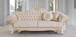 Casa Padrino baroque sofa beige / white / gold 228 x 105 x H. 85 cm - Noble living room sofa with rhinestones - Living room furniture in baroque style