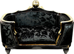 Pompöös by Casa Padrino Luxury Baroque Dog & Cat Bed Deluxe Black Bouquet Pattern / Gold by Harald Glööckler