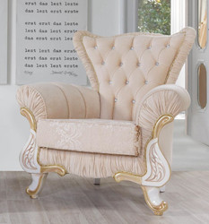 Casa Padrino baroque armchair beige / white / gold 97 x 85 x H. 105 cm - Noble living room armchair with rhinestones - Living room furniture in baroque style