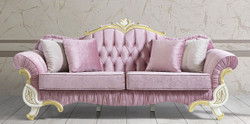 Casa Padrino baroque living room sofa with rhinestones pink / white / gold 228 x 105 x H. 85 cm - Noble & Magnificent