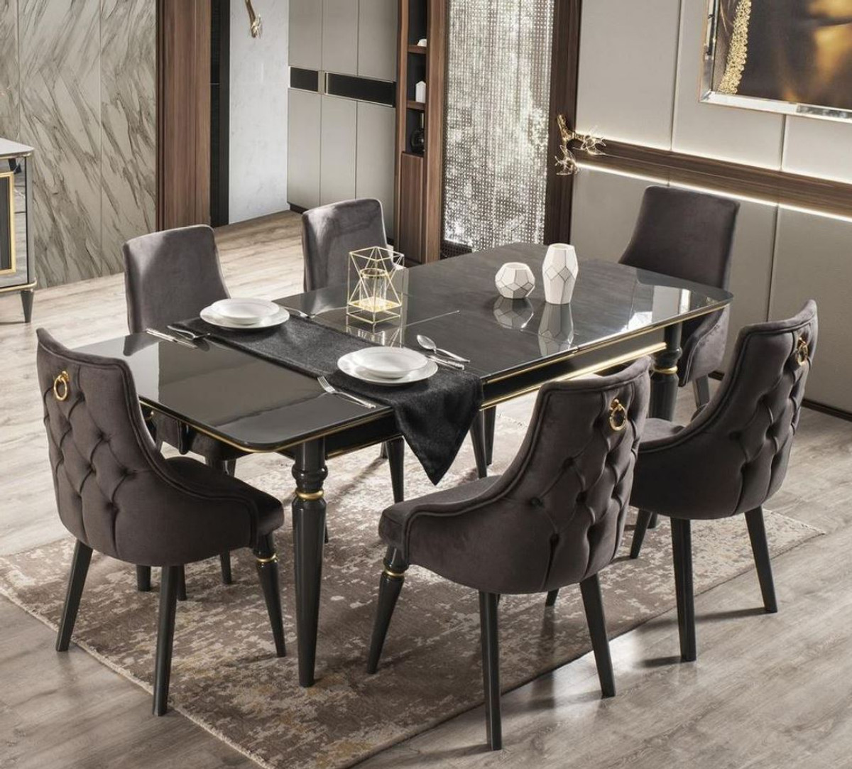 Picture of: Casa Padrino Luxury Art Deco Dining Room Set Gray Black Gold 1 Extendable Dining Room Table 6 Dining Chairs Art Deco Dining Furniture Luxury Quality
