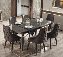 Casa Padrino Luxury Art Deco Dining Room Set Gray / Black / Gold - 1 Extendable Dining Room Table & 6 Dining Chairs - Art Deco Dining Furniture - Luxury Quality