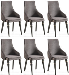 Casa Padrino luxury Art Deco dining chair set gray / black / gold 57 x 55 x H. 98 cm - Noble kitchen chairs set of 6 - Art Deco dining room furniture