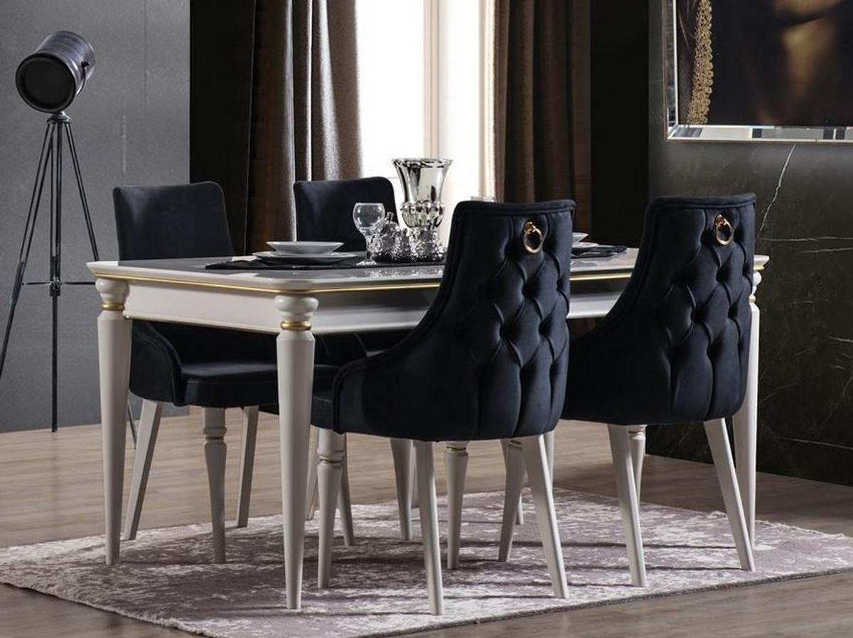 Casa Padrino Luxury Art Deco Dining Room Set Dark Blue / White / Gold   9  Extendable Dining Room Table & 9 Dining Chairs   Art Deco Dining Furniture    ...