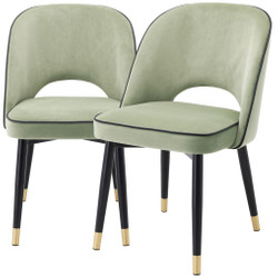 Casa Padrino luxury dining chair set pistachio green / black / brass 53 x 56 x H. 84 cm - Dining chairs with fine velvet - Dining room furniture