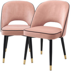Casa Padrino luxury dining chair set pink / black / brass 53 x 56 x H. 84 cm - Dining chairs with fine velvet - Dining room furniture
