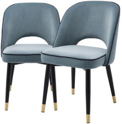 Casa Padrino luxury dining chair set blue / black / brass 53 x 56 x H. 84 cm - Dining chairs with fine velvet - Dining room furniture