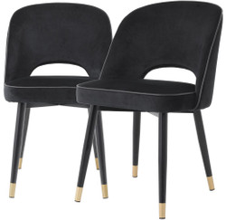 Casa Padrino luxury dining chair set black / brass 53 x 56 x H. 84 cm - Dining chairs with fine velvet - Dining room furniture