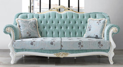 Casa Padrino baroque living room sofa with rhinestones and floral pattern light green / light blue / white / gold 215 x 80 x H. 120 cm - Baroque Furniture