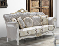 Casa Padrino baroque living room sofa with rhinestones and floral pattern light gray / cream / beige / white / gold 215 x 80 x H. 120 cm - Baroque Furniture