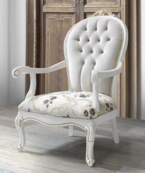 Casa Padrino Barock Sessel mit Glitzersteinen und Blumenmuster Hellgrau / Creme / Beige / Weiß / Gold 115 x 80 x H. 80 cm - Wohnzimmer Möbel im Barockstil