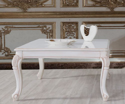 Casa Padrino baroque coffee table white / beige 104 x 80 x H. 45 cm - Solid wood living room table in baroque style - Baroque living room furniture