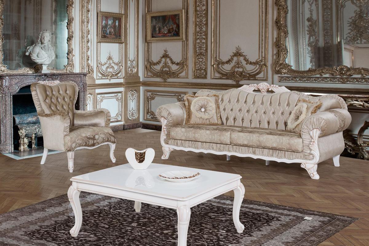 Casa Padrino Barock Wohnzimmer Set Braun / Weiß / Beige - 100 Sofas & 100  Sessel & 10 Couchtisch - Wohnzimmer Möbel im Barockstil