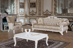 Casa Padrino baroque living room set brown / white / beige - 2 Sofas & 2 Armchairs & 1 Coffee Table - Living room furniture in baroque style