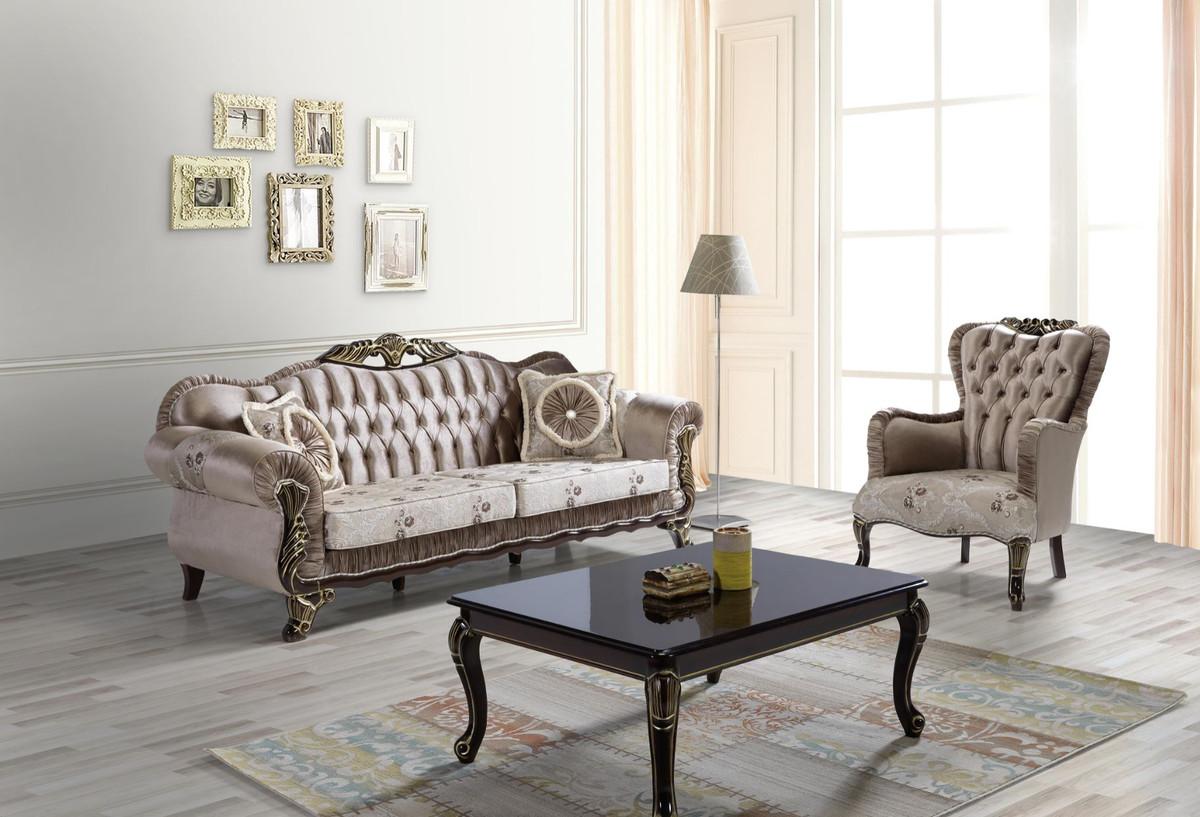 Casa Padrino Barock Wohnzimmer Set Braun / Beige / Schwarz / Gold - 100 Sofas  & 100 Sessel & 10 Couchtisch - Wohnzimmer Möbel im Barockstil