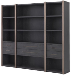 Casa Padrino luxury shelf cabinet with 6 drawers anthracite gray / bronze 253 x 47 x H. 229 cm - Bookcase - Living room cabinet - Office cabinet - Luxury cabinet