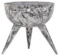 Casa Padrino Luxus Beistelltisch Schwarz / Weiß Ø 42 x H. 46 cm - Runder Dreibein Aluminium Tisch in Marmoroptik - Wohnzimmer Möbel