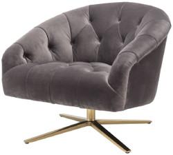 Casa Padrino Luxus Drehsessel Grau / Messingfarben 86 x 87 x H. 74 cm - Wohnzimmer Sessel mit edlem Samtstoff - Luxus Wohnzimmer Möbel