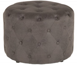 Casa Padrino Chesterfield Stool Antique Gray Ø 60 x H. 43 cm - Round Stool - Chesterfield Living Room Furniture