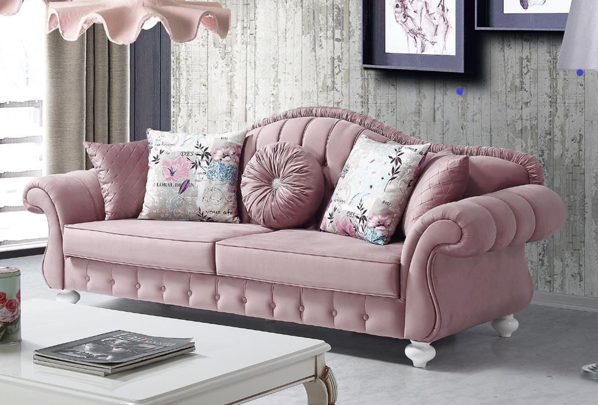 Casa Padrino Barock Sofa Rosa / Weiß 225 x 83 x H. 92 cm ...