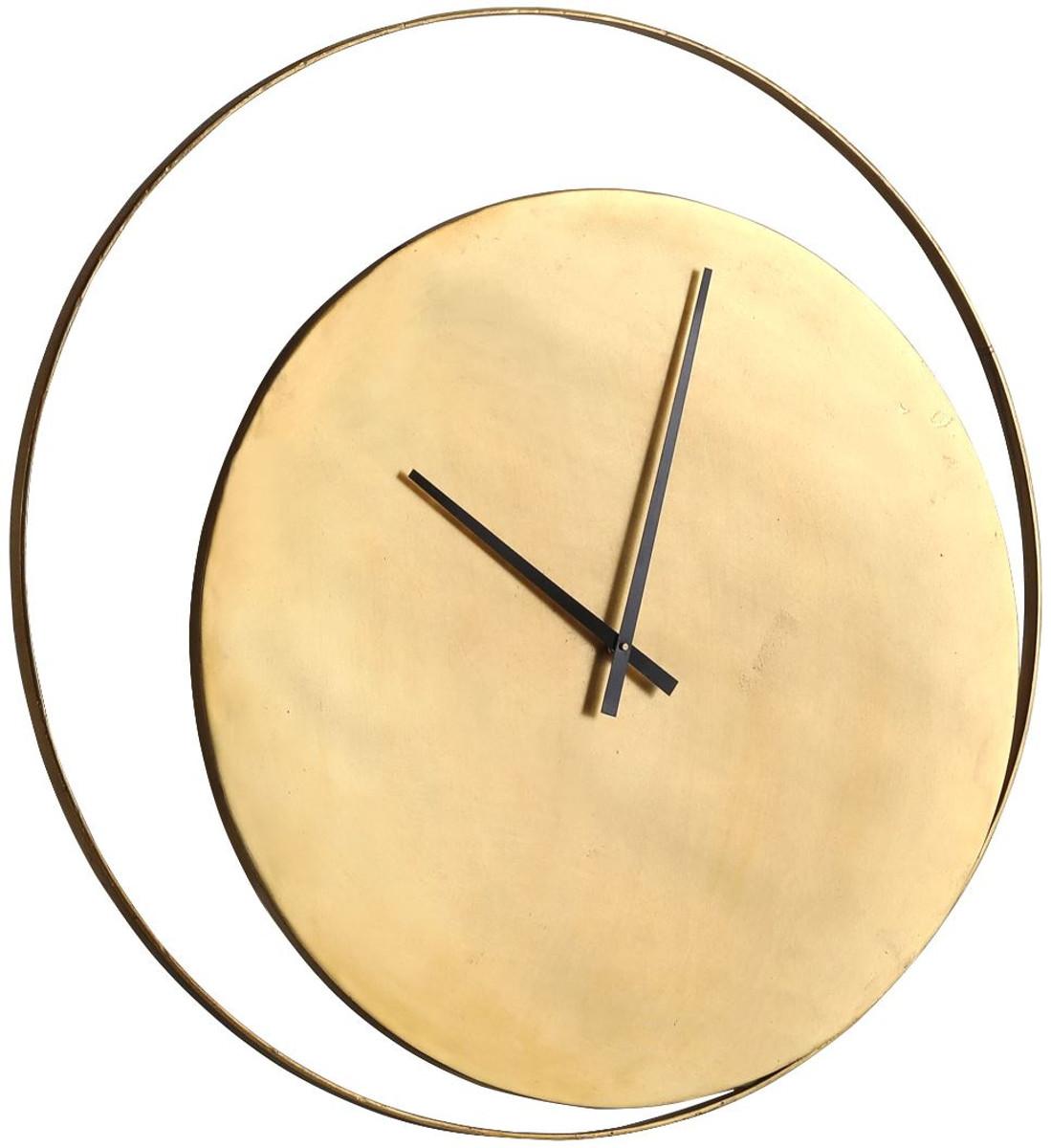 Casa Padrino Designer Wanduhr Gold Ø 9 cm - Runde Industrial Design Metall  Uhr - Wohnzimmer Deko Accessoires