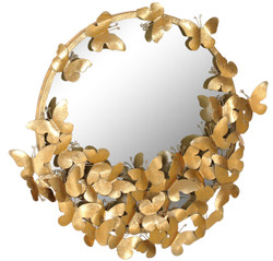 Casa Padrino designer mirror gold 73 x 5 x H. 70 cm - Modern powder-coated metal wall mirror with decorative butterflies - Decorative Accessories