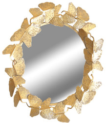 Casa Padrino designer mirror gold Ø 83 cm - Modern powder-coated metal wall mirror - Decorative Accessories