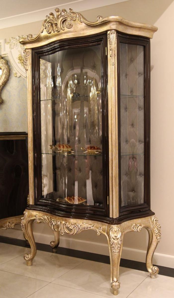 Casa Padrino Luxus Barock Vitrine Dunkelbraun / Beige / Gold 9 x 9 x H.  9 cm - Massivholz Vitrinenschrank - Wohnzimmerschrank - Edle Barock Möbel