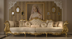 Casa Padrino luxury baroque living room sofa cream / gold 360 x 100 x H. 115 cm - Magnificent sofa in baroque style - Noble baroque living room furniture