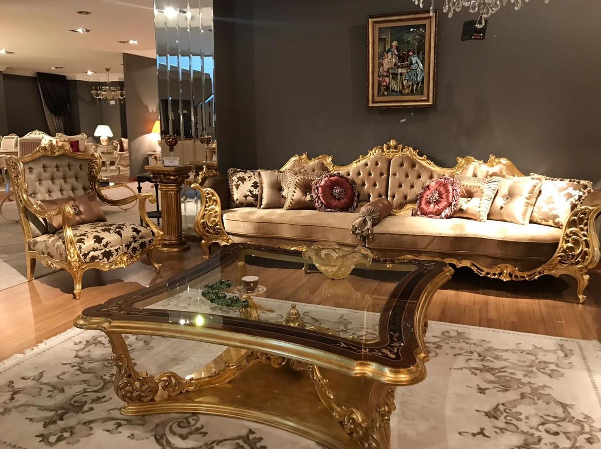 Casa Padrino Luxus Barock Wohnzimmer Sofa Braun Creme Gold 360 X 100 X H 115 Cm Prunkvolles Sofa Im Barockstil Edle Barock Wohnzimmer Mobel Barockgrosshandel De