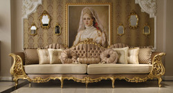 Casa Padrino luxury baroque living room sofa brown / cream / gold 360 x 100 x H. 115 cm - Magnificent sofa in baroque style - Noble baroque living room furniture