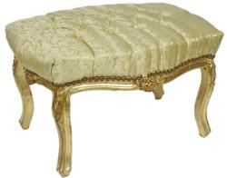 Casa Padrino baroque ottoman gold pattern / gold 60 x 40 x H. 35 cm - Handmade baroque stool with rhinestones - Baroque style furniture